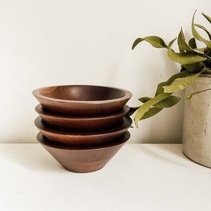 Set of 4 wood bowls